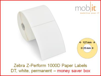 Zebra Z-Perform 1000D Paper Labels - core 25mm / 127mm exterior - box │☎ 044 800 16 30 ▶ info@mobit.ch