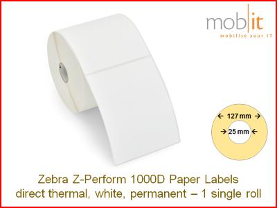 Zebra Z-Perform 1000D Paper Labels - core 25mm / 127mm exterior - 1 roll │☎ 044 800 16 30 ▶ info@mobit.ch