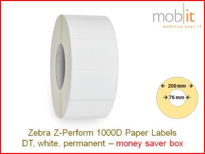 Zebra Z-Perform 1000D Paper Labels - core 76mm / 200mm exterior - box │☎ 044 800 16 30 ▶ info@mobit.ch