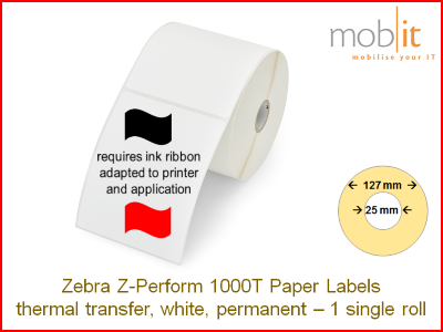 Zebra Z-Perform 1000T Paper Labels - core 25mm / 127mm exterior - 1 roll │☎ 044 800 16 30 ▶ info@mobit.ch