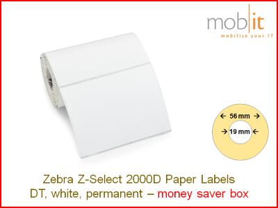 Zebra Z-Select 2000D Paper Labels - core 19mm / 56mm exterior - box │☎ 044 800 16 30 ▶ info@mobit.ch