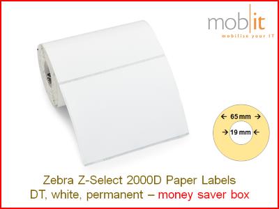 Zebra Z-Select 2000D Paper Labels - core 19mm / 65mm exterior - box │☎ 044 800 16 30 ▶ info@mobit.ch