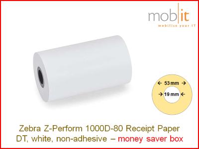 Zebra Z-Perform 1000D-80 Receipt Paper non-adhesive - core 19mm / 53mm exterior - box │☎ 044 800 16 30 ▶ info@mobit.ch