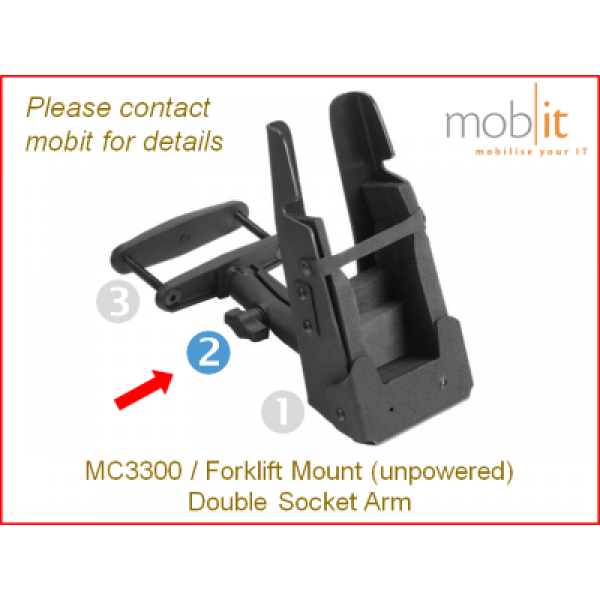 Zebra MC3300 Mobile Computer | Forklift Mount Double Socket Arm | ☎ 044 800 16 30, info@mobit.ch