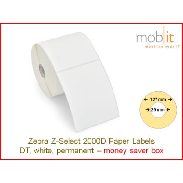 Zebra Z-Select 2000D Paper Labels - core 25mm / 127mm exterior - box │☎ 044 800 16 30 ▶ info@mobit.ch
