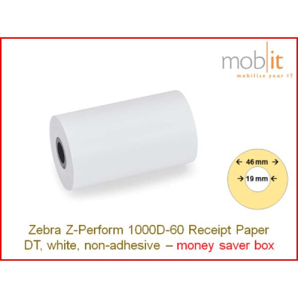 Zebra Z-Perform 1000D-60 Receipt Paper non-adhesive - core 19mm / 46mm exterior - box │☎ 044 800 16 30 ▶ info@mobit.ch