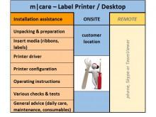 m|care - Installations-Unterstützung vor Ort für Etikettendrucker / Desktop