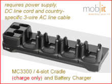 MC3300 Charge Cradle and Battery Charger, 4-slot each