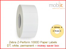 Thermo Eco Papier Etiketten - 76 x 25 mm, 6 Rollen/Box