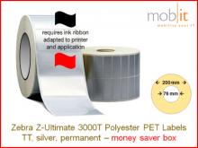 Polyester Etiketten silber - 51 x 25 mm, 10 Rollen/Box