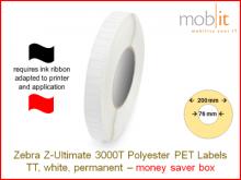 Polyester Etiketten weiss - 51 x 25 mm, 10 Rollen/Box