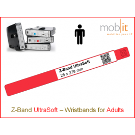 Bracelet patient UltraSoft, adultes, 25x279mm bord rouge