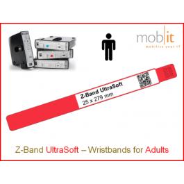Bracelet patient UltraSoft, adultes, 25x279mm bord rouge