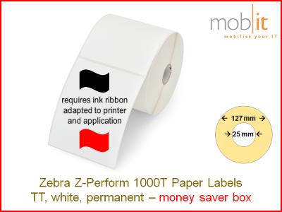 Zebra Z-Perform 1000T Paper Labels - core 25mm / 127mm exterior - box │☎ 044 800 16 30 ▶ info@mobit.ch