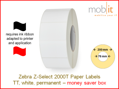 Zebra Z-Select 2000T Paper Labels - core 76mm / 200mm exterior - box │☎ 044 800 16 30 ▶ info@mobit.ch