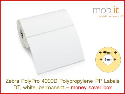 Zebra PolyPro 4000D Polypropylene Labels - core 19mm / 66mm exterior - box │☎ 044 800 16 30 ▶ info@mobit.ch