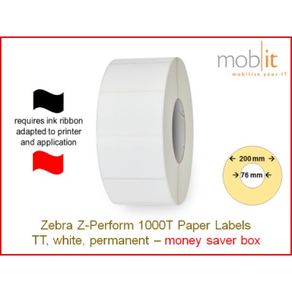 Zebra Z-Perform 1000T Paper Labels - core 76mm / 200mm exterior - box │☎ 044 800 16 30 ▶ info@mobit.ch