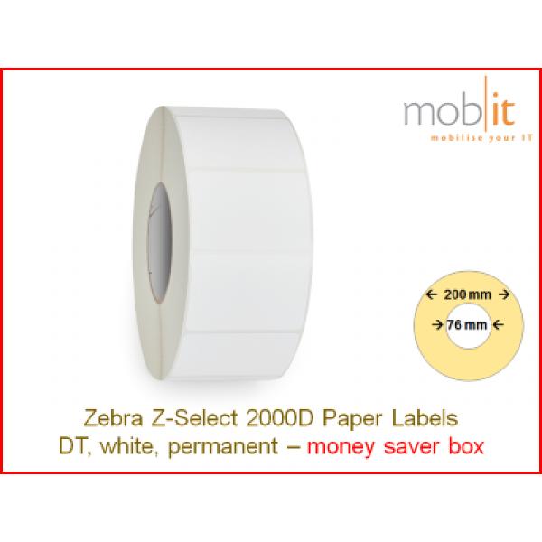 Zebra Z-Select 2000D Paper Labels - core 76mm / 200mm exterior - box │☎ 044 800 16 30 ▶ info@mobit.ch
