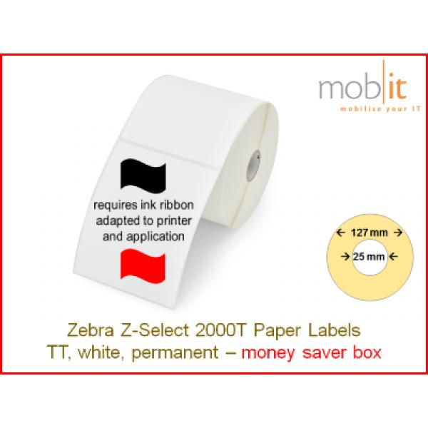 Zebra Z-Select 2000T Paper Labels - core 25mm / 127mm exterior - box │☎ 044 800 16 30 ▶ info@mobit.ch