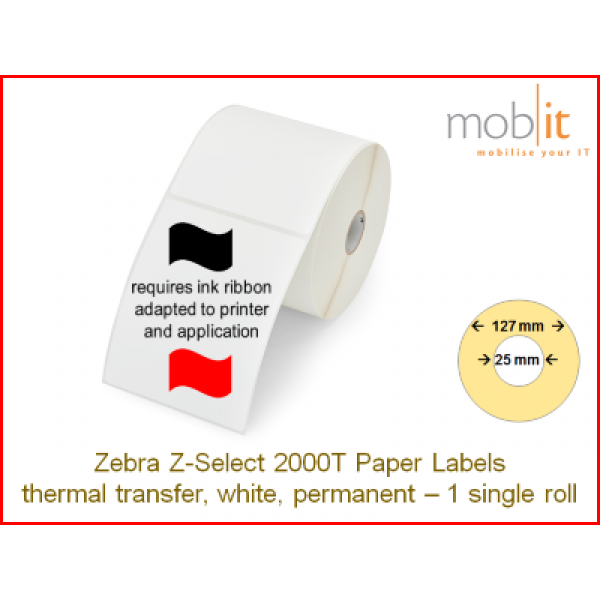 Zebra Z-Select 2000T Paper Labels - core 25mm / 127mm exterior - 1 roll │☎ 044 800 16 30 ▶ info@mobit.ch