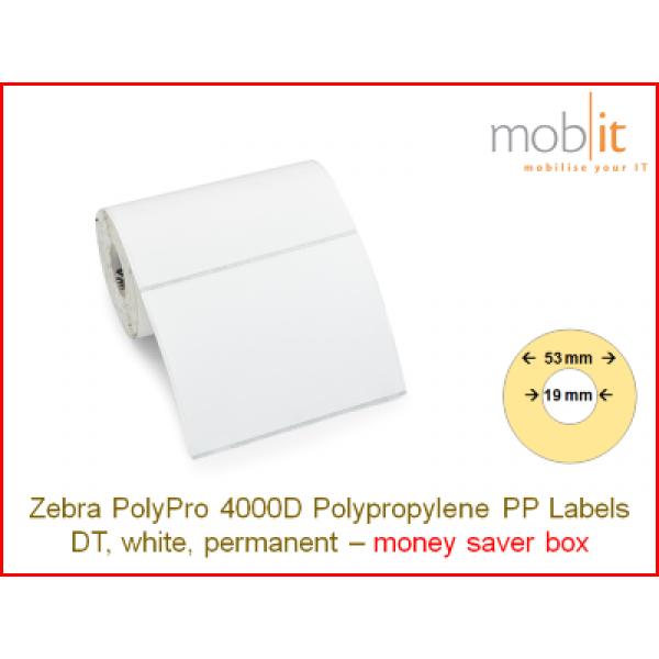 Zebra PolyPro 4000D Polypropylene Labels - core 19mm / 53mm exterior - box │☎ 044 800 16 30 ▶ info@mobit.ch