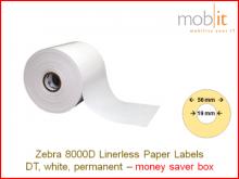 Zebra 8000D Linerless Paper Labels - core 19mm / 56mm exterior - box │☎ 044 800 16 30 ▶ info@mobit.ch