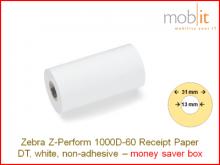 Zebra Z-Perform 1000D-60 Receipt Paper non-adhesive - core 13mm / 31mm exterior - box │☎ 044 800 16 30 ▶ info@mobit.ch