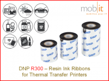 Resin Ribbon R300 - 220 mm x 450 m, 12 rolls/box
