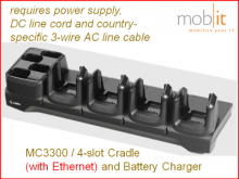 MC3300 Ethernet Cradle and Battery Charger, 4-slot each