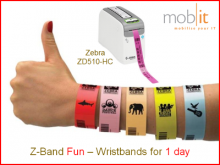 1-Day Bracelets Fun, adultes, rose, 25x254mm