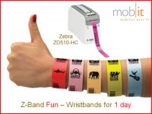 1-Day Bracelets Fun, adultes, jaune, 25x254mm