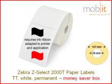 Thermal Transfer Paper Labels - 57 x 32 mm, 12 rolls/box